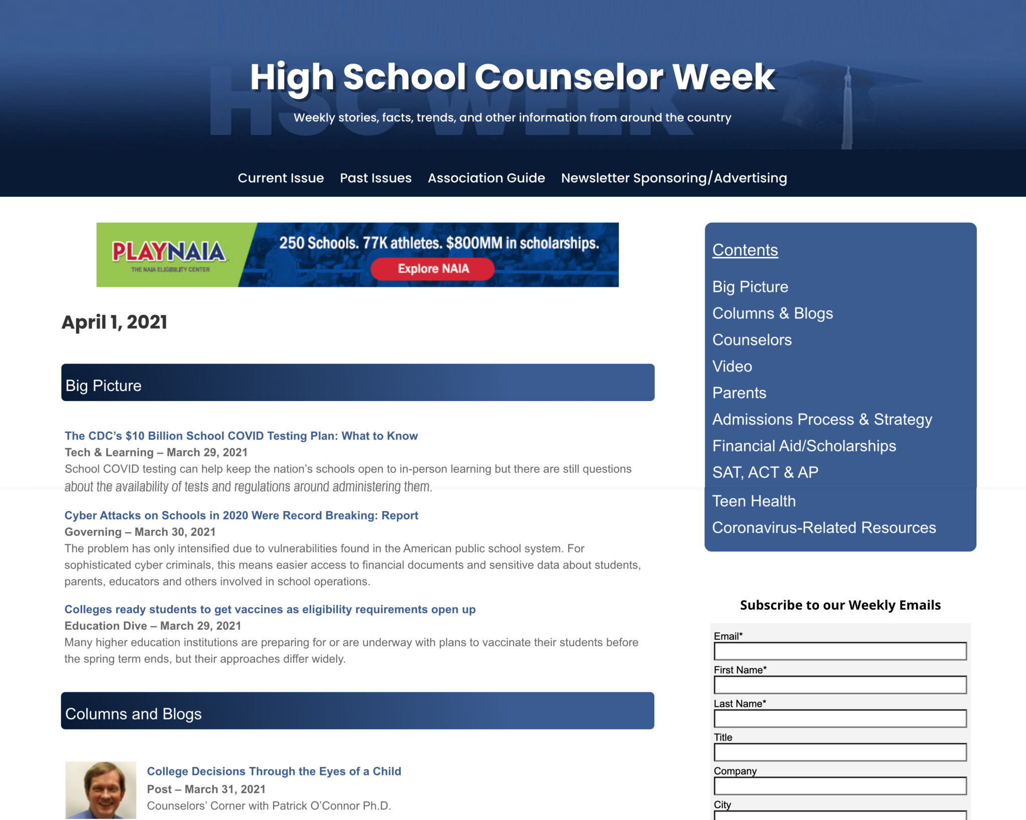 high school counselor list